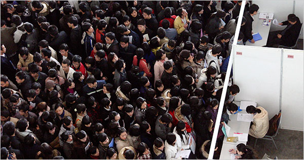 unemployment pic chinese job fair mob