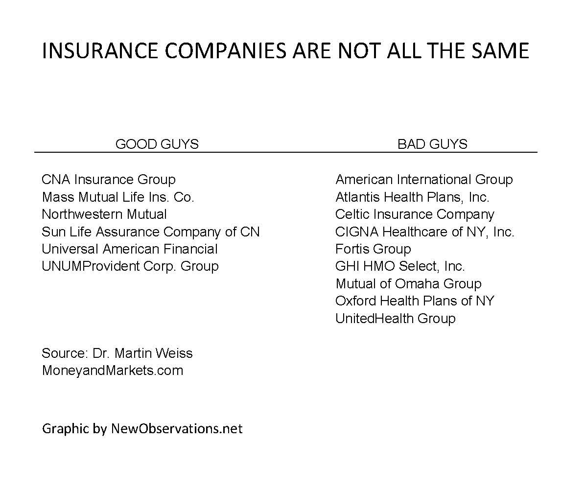 krugman insurance companies not all the same