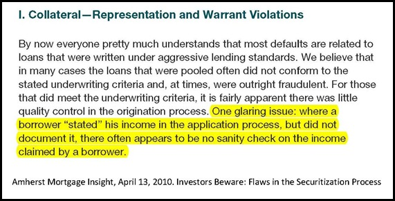 Amherst Mortgage Insight April 13 2010 opinion on stated income